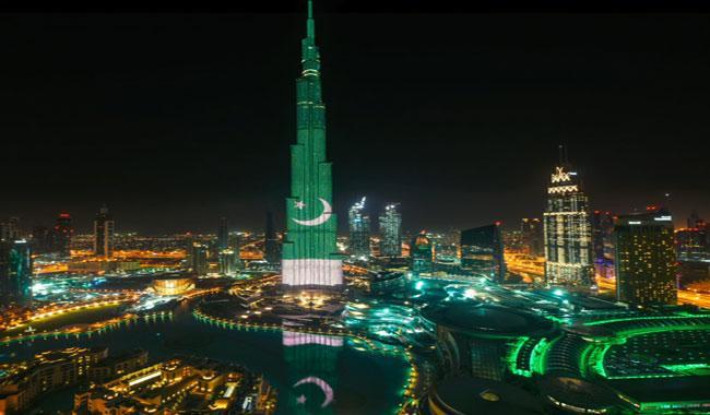 پرچم پاکستان در برج خلیفه