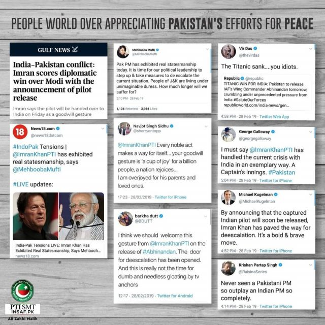 he world has acknowledged Prime Minister Khan's efforts for promoting peace in the region