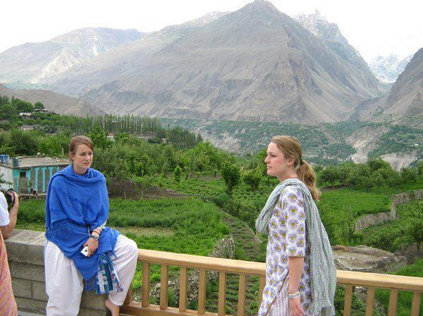 Foreign tourists in traditional Pakistani dress,