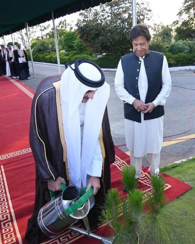 Emir of Qatar plants sapling at Prime Minister House