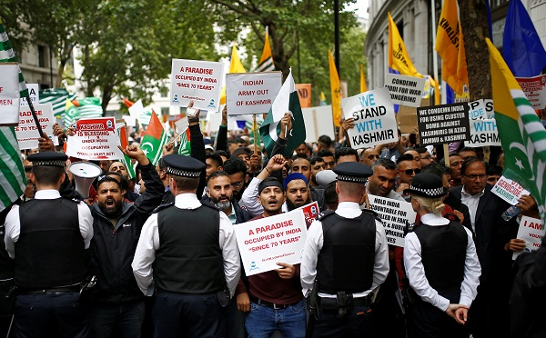 Demonstrators protest the scrapping of the special constitutional status in Kashmir by the Indian government, outside the Indian High Commission in London