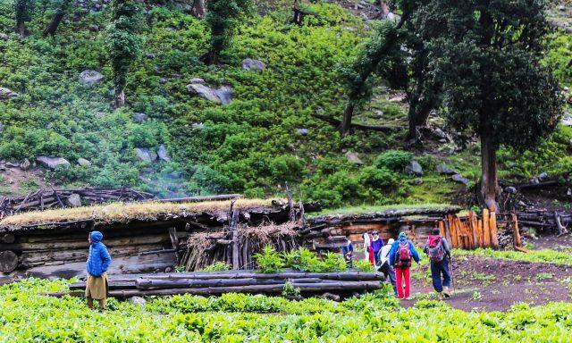 11 Trekkers stay in local huts at Gujar Banr towards Mastij Lake.