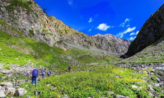 15 Trekkers and tourists pass the scenic Janshai meadows towards Mastij Lake.