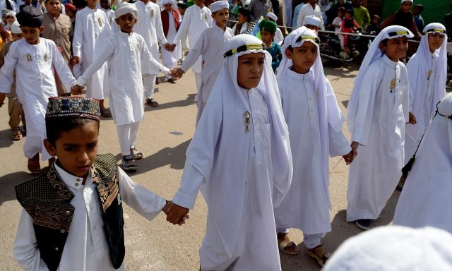 -Children-in-traditional-Arabic-clothing-participate-in-a-procession-to-mark-12-Rabi-ul-Awwal-in-Karachi-on-Sunday.