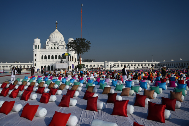 Sitting places with pillows are set out for Sikh pilgrims to attend a ceremomy for the inauguration of the Shrine of Baba Guru Nanak