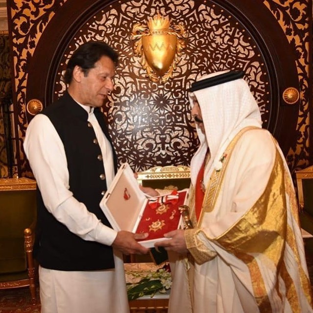 King of Bahrain His Majesty Hamad Bin Isa Al Khalifa has conferred the highest Civil Award to PM Imran Khan