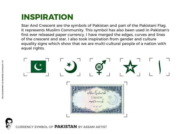 """Assam Artist"""" has given a proposal for a symbol to represent the currency of Pakistan 'rupees'"""