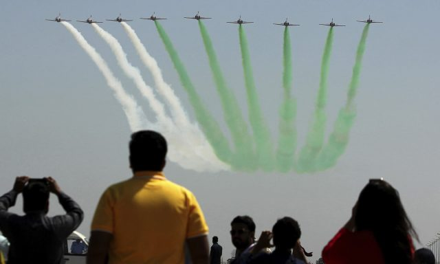 PAF-fighter-jets-perform-an-aerobatic-show-to-mark-the-first-anniversary-of-Operation-Swift-Retort-in-Karachi.