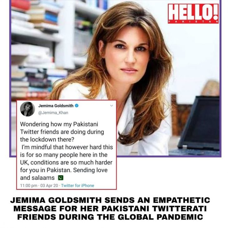 Jemima Goldsmith takes it to Twitter to check on her Pakistani fans