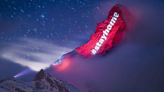 Coronavirus Mountain light show sends message to Swiss