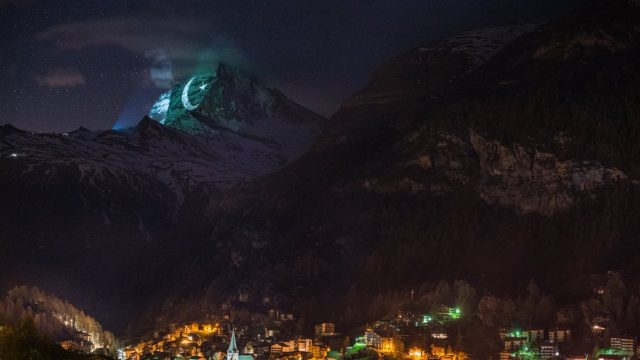 Pakistan's flag projected on the Switzerland's Mount Matterhorn
