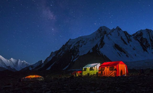 6 The porters' tent at K2's base camp is just a tarpaulin stretched over the stones,