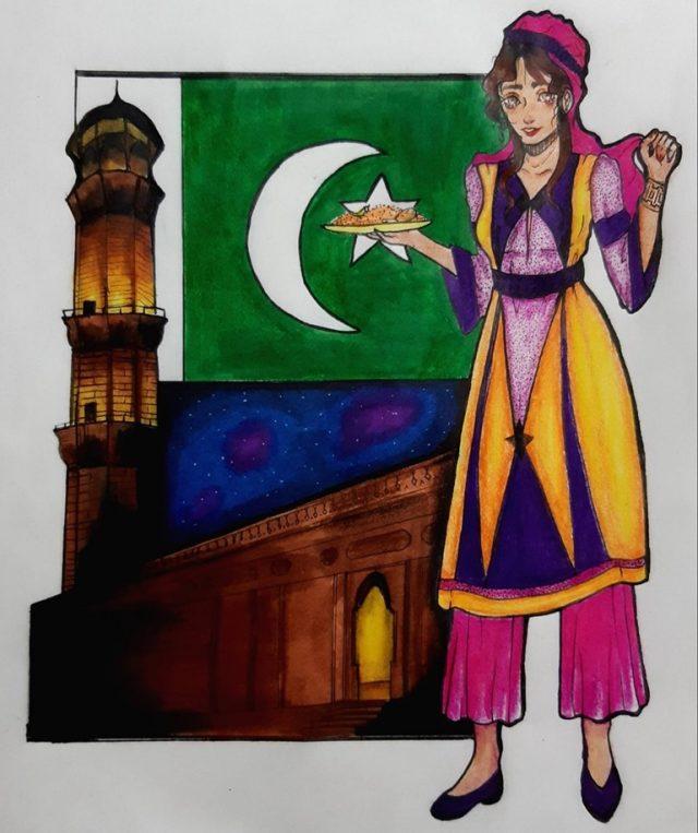 نقاشی عسل خانم از تهران برای پاکستان