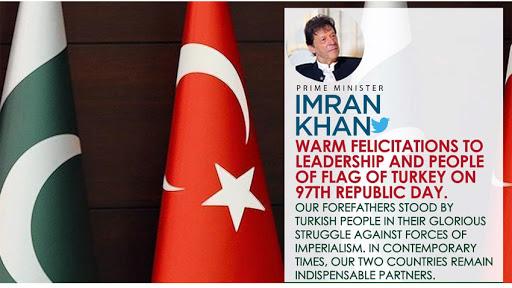 PM Imran felicitates Turkish leadership, people on 97th Republic Day 2