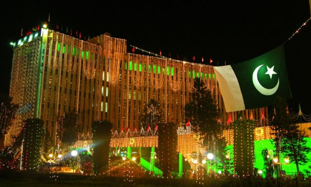 Headquarters illuminated for Pakistan Independence day