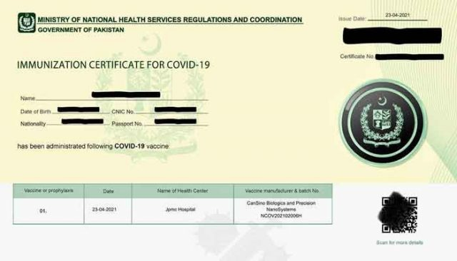 UK Recognizes COVID-19 Vaccination Certificates Issued by NADRA